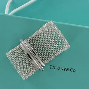 RARE RETIRED Tiffany WIDE Clasping Mesh Bracelet